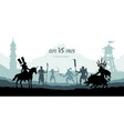 black silhouette of battle orcs and elfs vector image vector image
