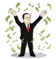businessman throwing bank notes vector image vector image