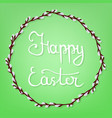 calligraphy lettering happy easter on green vector image vector image