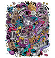 cartoon doodles disco music vector image vector image