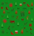 christmas card with deer and fir trees vector image