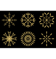 Christmas - Set of gold snowflakes icon vector image vector image