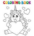 coloring book valentine unicorn theme 1 vector image vector image