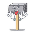 crazy meat hammer utensil isolated on mascot vector image vector image