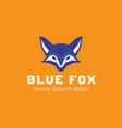 creative blue fox logo template vector image