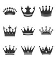 crown icons set in trendy flat style isolated on vector image
