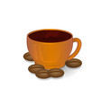 cup of coffee and coffee beans brown color on a vector image vector image