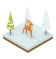 Deer Walking Along Winter Wood Forest Isometric 3d vector image