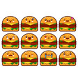 emoticon hamburger face on a white background vector image vector image