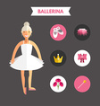 flat design ballerina with icon set infographic vector image