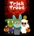 halloween background with animal trick or vector image vector image