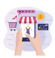 hands with smartphone ecommerce technology and vector image