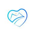 heart mountain shape logo vector image vector image