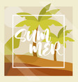 hello summer banner palm trees foliage tropical vector image vector image