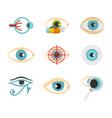 human eye icon set flat style vector image