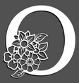 letter silhouette with flowers letter o vector image