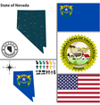 map nevada with seal vector image vector image