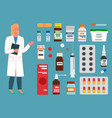 medicine pharmacy hospital set medicines in vector image vector image