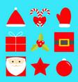 merry year icon set star santa vector image vector image