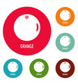 orange icons circle set vector image vector image