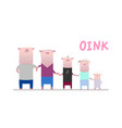 pink pig family vector image vector image