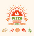pizza menu colored emblem with brick oven vector image