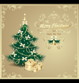 Post card with Christmas Tree and gifts vector image vector image