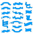 ribbon and paper scrolls blue icons set vector image vector image