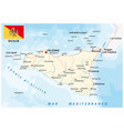 road map italian island sicily with flag vector image vector image