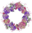 round floral frame made of different asters round vector image vector image