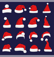 santa claus red hat silhouette vector image