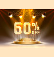scene golden 60 sale off text banner night sign vector image vector image
