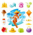 sea travel icons beautiful girl sitting in vector image vector image