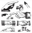 set of antique hands engravings vector image vector image