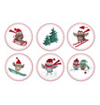 set of greeting labels with cute owls and fir tree vector image