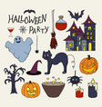set of hand drawn elements for halloween party vector image