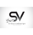 sv letter logo design with black smoke vector image vector image