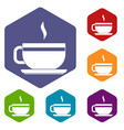 tea cup and saucer icons set hexagon vector image vector image