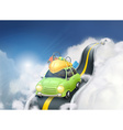 traveling car in clouds background vector image vector image