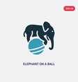 two color elephant on a ball icon from animals vector image