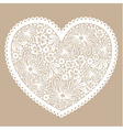 White lacy heart on beige background vector image vector image