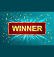 winner banner with floating golden confetti vector image vector image