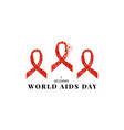 world aids day awareness red ribbon poster vector image