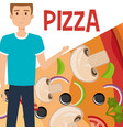 young man with italian pizza vector image vector image