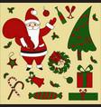 christmas items and santa set new year vector image
