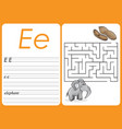 alphabet a-z - puzzle worksheet - cute elephant vector image vector image