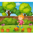 Angry girl kicking potted plants in the garden