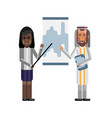 arabic and african speakers doing presentation vector image vector image