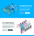 banners with bikes pictures of 3d isometric vector image