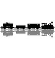 black silhouette of a vintage steam train vector image vector image